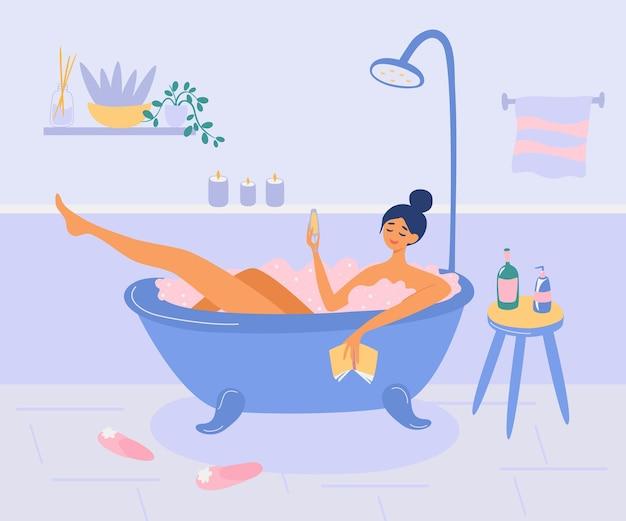 女の子は泡の泡でバスルームに横たわっています。女性はワインを飲み、本を読み、リラックスします。バスタイム、自宅でスパ。日常生活と日常生活。フラットスタイルの漫画のベクトルイラスト。