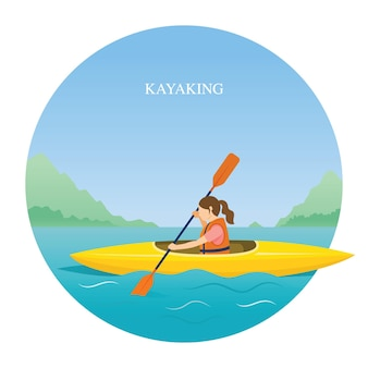 Girl in life jacket kayaking in the sea or river