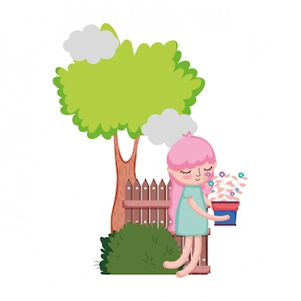Girl lifting houseplant with fence and tree