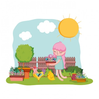 Girl lifting houseplant with rooster in the garden