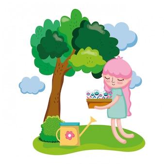 キャンプでスプリンクラーと観葉植物を持ち上げる女の子