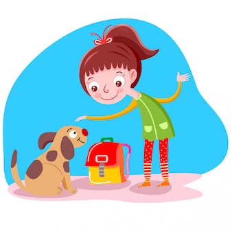 Girl likes a dog vector illustration