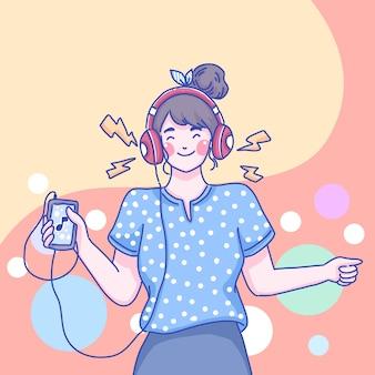 Девушка слушать музыку дизайн персонажей карикатура иллюстрации.
