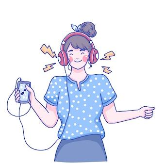 Девушка слушать музыку характер иллюстрации.