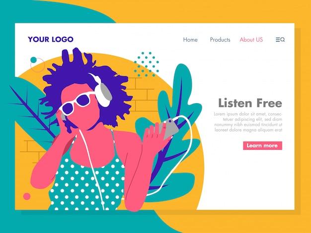 Girl listening music illustration for landing page