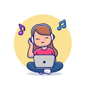Девушка, слушать музыку с наушниками и ноутбуком мультфильм значок иллюстрации. люди музыка значок концепции изолированы. плоский мультяшном стиле
