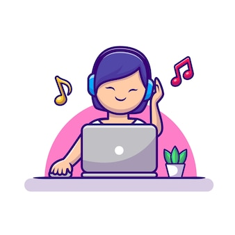 Девушка, слушать музыку с наушниками и ноутбуком мультфильм векторные иллюстрации значок. люди технологии значок концепция изолированные premium векторы. плоский мультяшном стиле