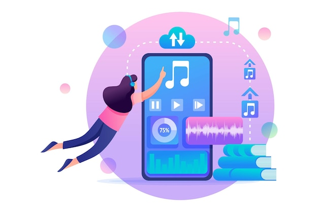 스마트 폰을 사용하여 온라인 오디오 북을 듣는 소녀