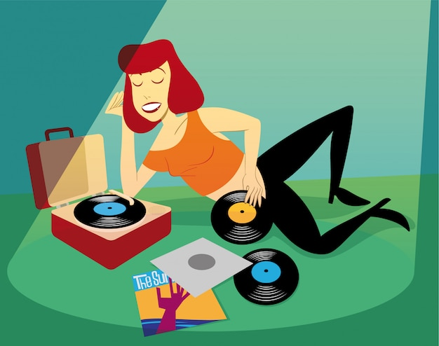 Girl listening to vinyl records laying and relaxing on the floor