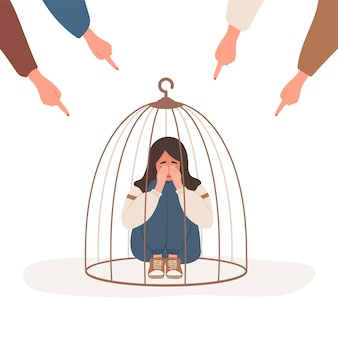 Girl locked in cage. fingers pointing on sad muslim woman. Premium Vector
