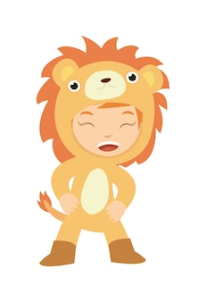 A girl look cute wearing lion costume