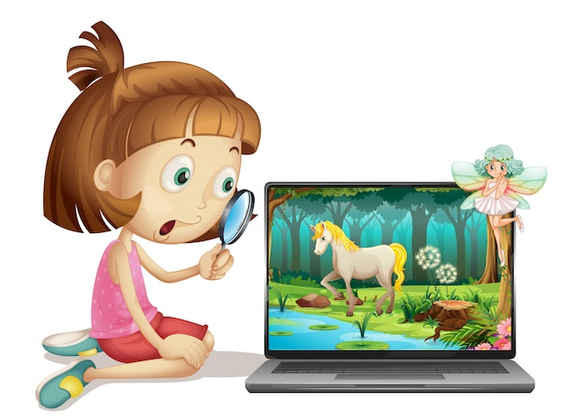 Girl look through magnifying glass to laptop