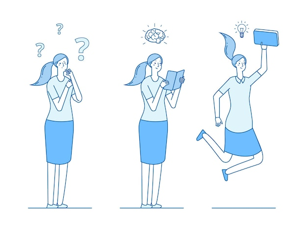 Girl looking answers to questions. reading and learning, searching for ideas and solutions