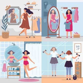 鏡を見ている女の子。