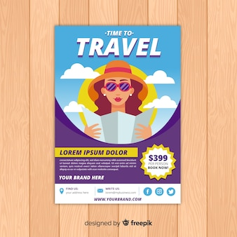 Girl looking at a map travel flyer template