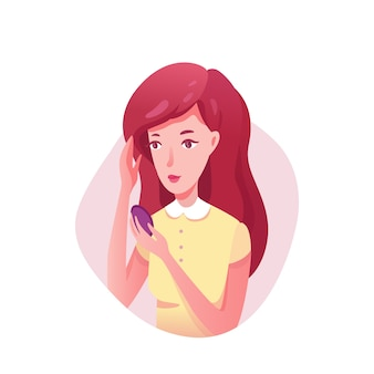 Girl looking in mirror  illustration. teenager applying powder  clipart. woman getting ready for college in morning. beautiful lady putting makeup. attractive female  character