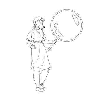 Девушка смотрит через увеличительное стекло инструмент черная линия карандашный рисунок вектор. молодая женщина, держащая и просматривающая лупу для чтения книги или исследования. иллюстрация удержания объектива персонажа