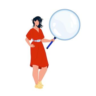 Девушка смотрит через вектор инструмента увеличительное стекло. молодая женщина, держащая и просматривающая лупу для чтения книги или исследования. персонаж держать объектив плоский мультфильм иллюстрации