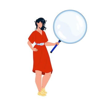 Girl looking through magnifying glass tool vector. young woman holding and looking through magnifier for reading book or researching. character hold lens flat cartoon illustration
