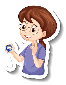 Una ragazza che guarda l'adesivo del personaggio dei cartoni animati del timer