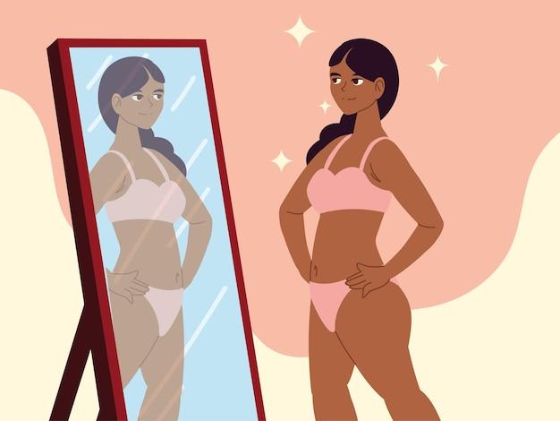 女の子は自分自身を鏡の自己受容に見えます