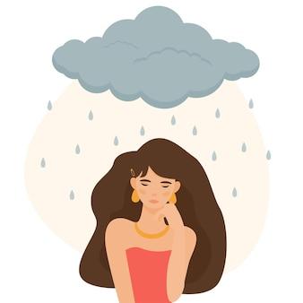 女の子は彼女のイラストの上に雨が降っている灰色の雲で悲しそうに見えます