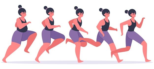 Девушка худеет. бегущая женщина в процессе похудания, женский персонаж бегает трусцой и приходит в форму, теряет вес, этапы иллюстрации. фитнес девушка стройная, женщина бег трусцой и тренировки