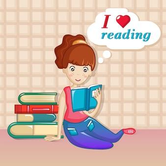 Girl love reading concept, cartoon style