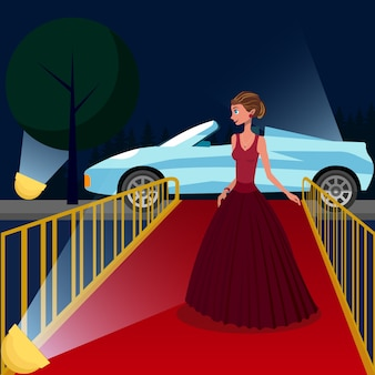 Girl in luxury evening gown on red carpet.