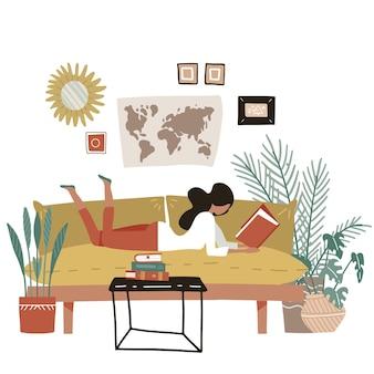 소파에 누워 현대적인 스타일의 책 평면 그림을 읽는 소녀
