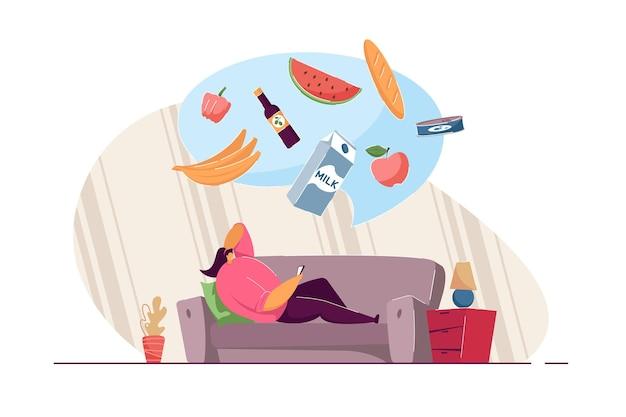 Девушка лежит на диване и заказывает еду через мобильное приложение. пузырь с молоком, бананами, яблоком, арбузом, хлебом, маслом и перцем плоской векторной иллюстрации. доставка, онлайн, концепция магазина заказов