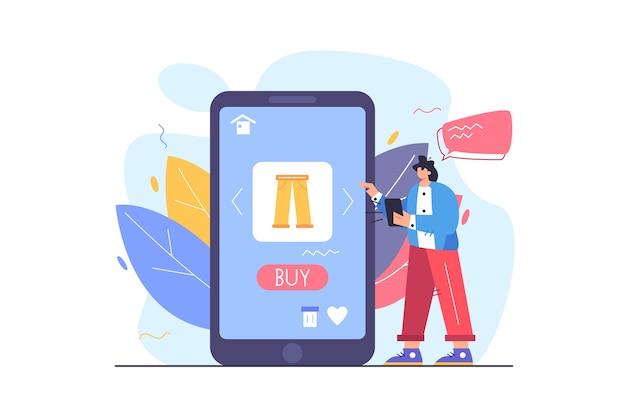 Девушка делает выбор товаров в мобильном магазине на большом дисплее мобильного телефона на белом фоне плоской иллюстрации