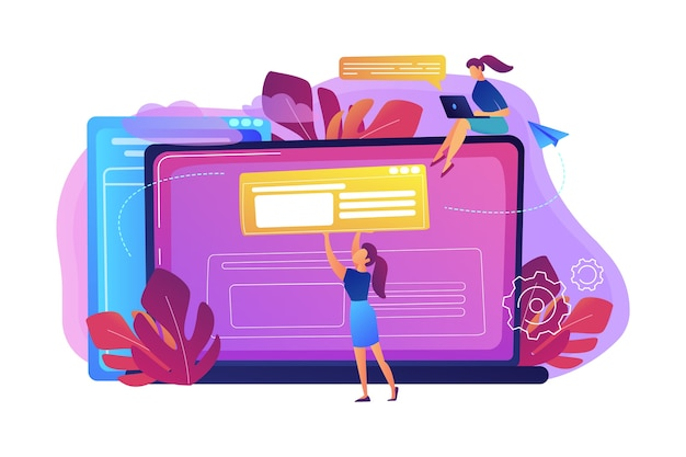 A girl makes a post on big laptop illustration