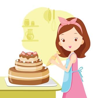 여자 아이 만들기 케이크, 베이커리 주방