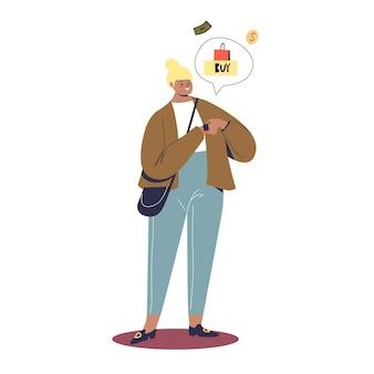 Девушка делает оплату с помощью смарт-часов. приложение онлайн-банкинга для концепции smartwatch. молодая женщина покупает и оплачивает ремешком для часов