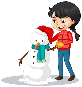Girl making snowman isolated