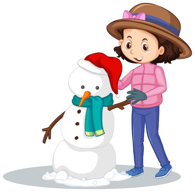 分離された雪だるまを作る女の子