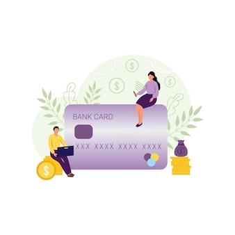 A girl and a man pay for online purchases in a store using a bank card via online payment. the concept of an online store. vector flat illustrations. economics and finance, business, banking.