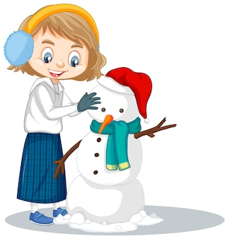 Girl manking snowman on isolated