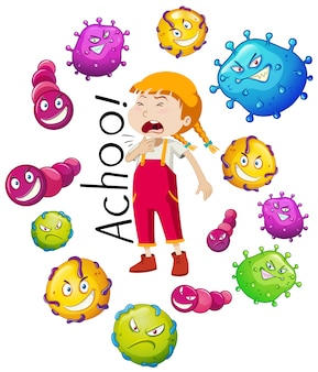 Girl and many virus on white background