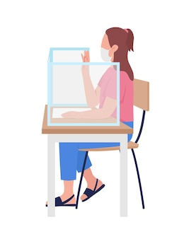 Girl in mask at school lesson semi flat color vector character
