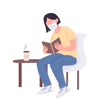 Girl in medical mask reading book