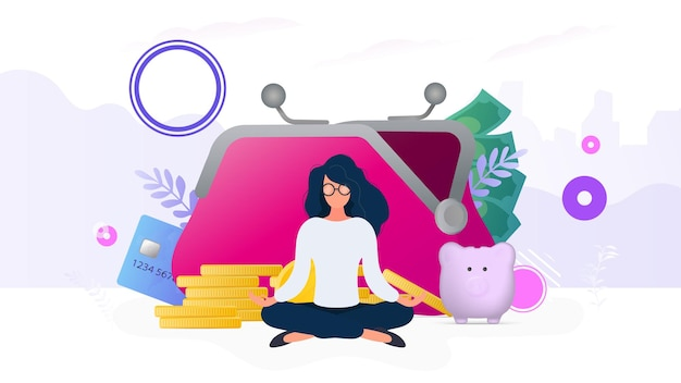 Девушка медитирует на фоне кошелька с монетами, кредитными картами и копилкой. понятие сбережения и накопления денег. подходит для презентаций и статей на деловую тему.