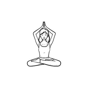 Девушка медитирует в позе лотоса с ее руками вверх значок руки нарисованные наброски каракули. медитация, концепция релаксации. векторная иллюстрация эскиз для печати, интернета, мобильных устройств и инфографики на белом фоне.