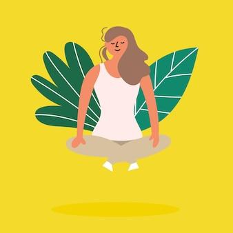 Girl meditating lotus position soars above ground