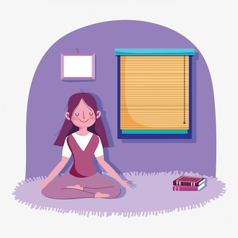 Тренировка спорта деятельности при йоги представления раздумья девушки дома