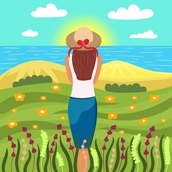 소녀는 자연에서 새벽을 만난다. 아름다운 풍경 바다 들판과 모래 남자 혼자 자연