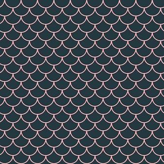 소녀 인어 완벽 한 패턴입니다. 핑크 물고기 피부 배경입니다. 소녀 직물, 섬유 디자인, 포장지, 수영복 또는 벽지를 위한 경작 가능한 배경. 수 중 물고기 규모와 소녀 인어 텍스처입니다.