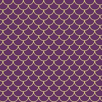 女の子の人魚のシームレスなパターン。紫の魚の肌の背景。女の子の生地、テキスタイルデザイン、包装紙、水着、壁紙のティラブルな背景。水中の魚の鱗を持つ女の子の人魚のテクスチャ。