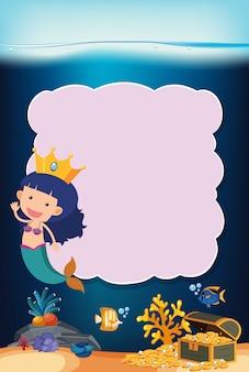 Girl mermaid underwater frame concept
